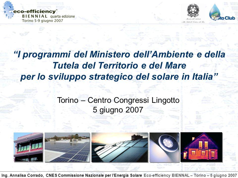Ing. Annalisa Corrado, CNES Commissione Nazionale per lEnergia SolareEco-efficiency BIENNAL – Torino – 5 giugno 2007 I programmi del Ministero dellAmb
