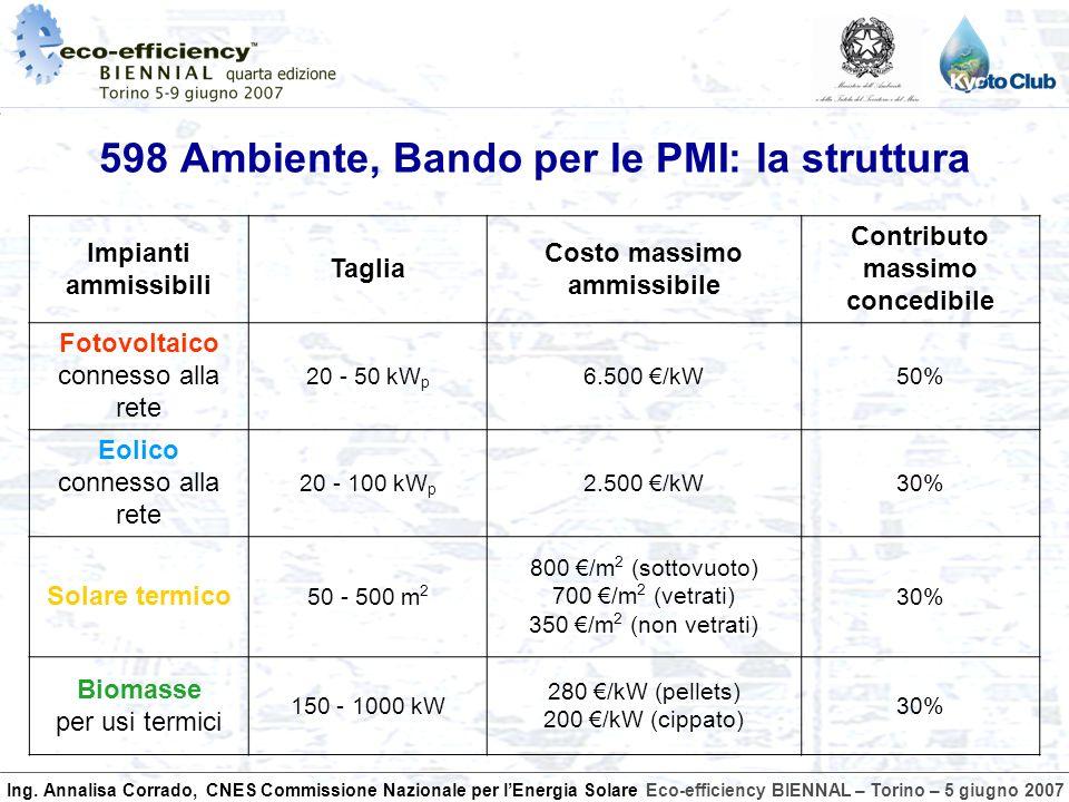 Ing. Annalisa Corrado, CNES Commissione Nazionale per lEnergia SolareEco-efficiency BIENNAL – Torino – 5 giugno 2007 598 Ambiente, Bando per le PMI: l
