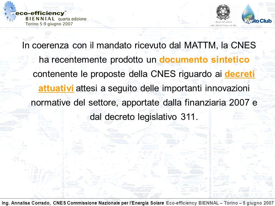 Ing. Annalisa Corrado, CNES Commissione Nazionale per lEnergia SolareEco-efficiency BIENNAL – Torino – 5 giugno 2007 In coerenza con il mandato ricevu