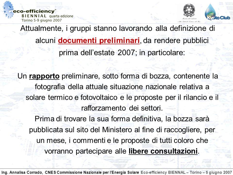 Ing. Annalisa Corrado, CNES Commissione Nazionale per lEnergia SolareEco-efficiency BIENNAL – Torino – 5 giugno 2007 Attualmente, i gruppi stanno lavo