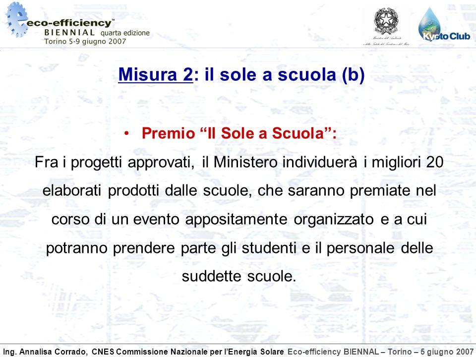 Ing. Annalisa Corrado, CNES Commissione Nazionale per lEnergia SolareEco-efficiency BIENNAL – Torino – 5 giugno 2007 Premio Il Sole a Scuola: Fra i pr
