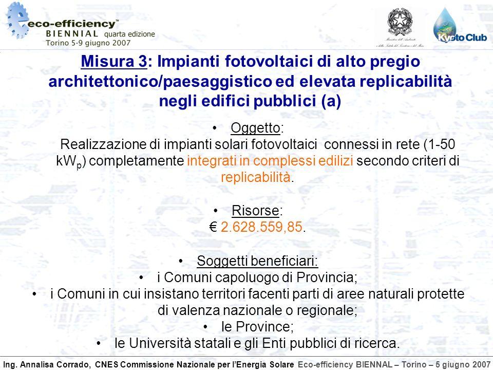 Ing. Annalisa Corrado, CNES Commissione Nazionale per lEnergia SolareEco-efficiency BIENNAL – Torino – 5 giugno 2007 Oggetto: Realizzazione di impiant