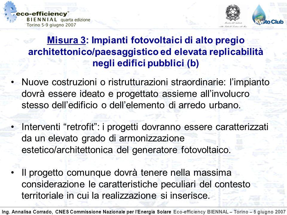 Ing. Annalisa Corrado, CNES Commissione Nazionale per lEnergia SolareEco-efficiency BIENNAL – Torino – 5 giugno 2007 Nuove costruzioni o ristrutturazi