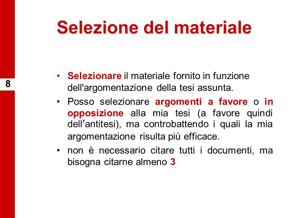 Selezione del materiale Selezionare il materiale fornito in funzione dell'argomentazione della tesi assunta. Posso selezionare argomenti a favore o in