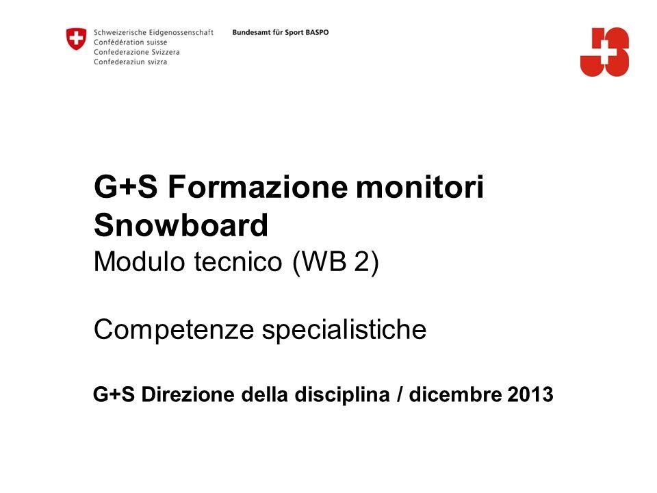 G+S Formazione monitori Snowboard Modulo tecnico (WB 2) Competenze specialistiche G+S Direzione della disciplina / dicembre 2013