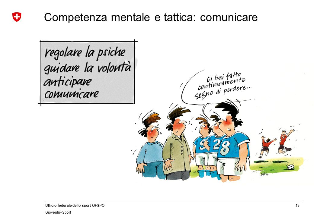19 Ufficio federale dello sport OFSPO Gioventû+Sport Competenza mentale e tattica: comunicare