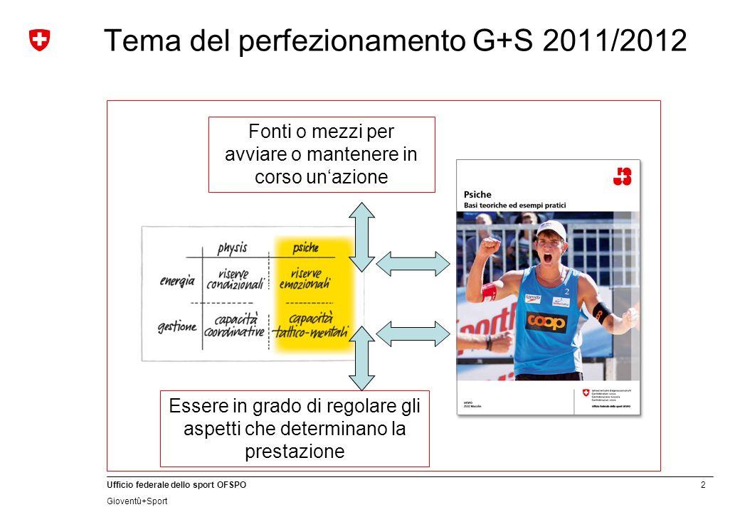 2 Ufficio federale dello sport OFSPO Gioventû+Sport Tema del perfezionamento G+S 2011/2012 Fonti o mezzi per avviare o mantenere in corso unazione Essere in grado di regolare gli aspetti che determinano la prestazione