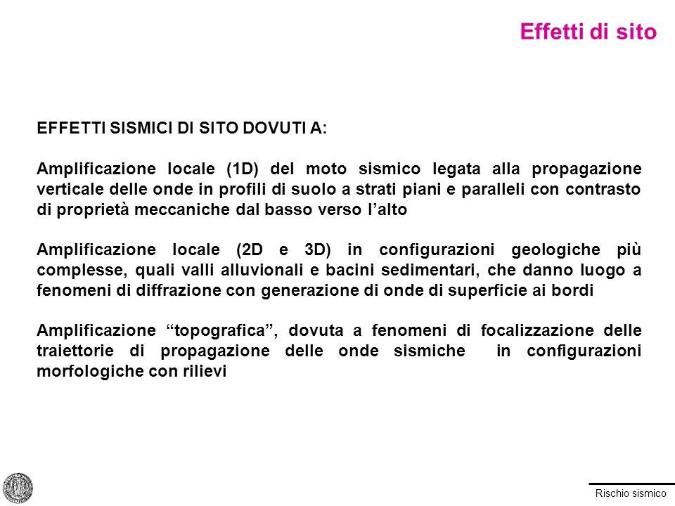 Rischio sismico EFFETTI SISMICI DI SITO DOVUTI A: Amplificazione locale (1D) del moto sismico legata alla propagazione verticale delle onde in profili