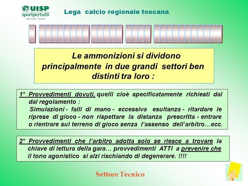 Lega calcio regionale toscana Settore Tecnico 15 Il vero e proprio provvedimento disciplinare, comune a tutti gli sport, è quello dellespulsione (temporanea o definitiva).