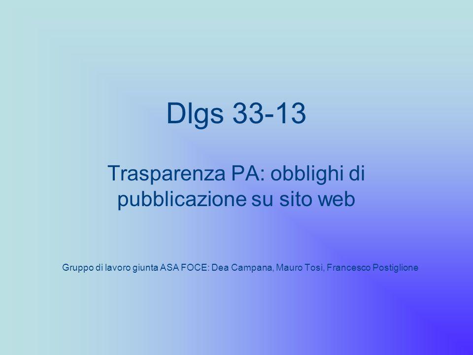 Dlgs 33-13 Trasparenza PA: obblighi di pubblicazione su sito web Gruppo di lavoro giunta ASA FOCE: Dea Campana, Mauro Tosi, Francesco Postiglione