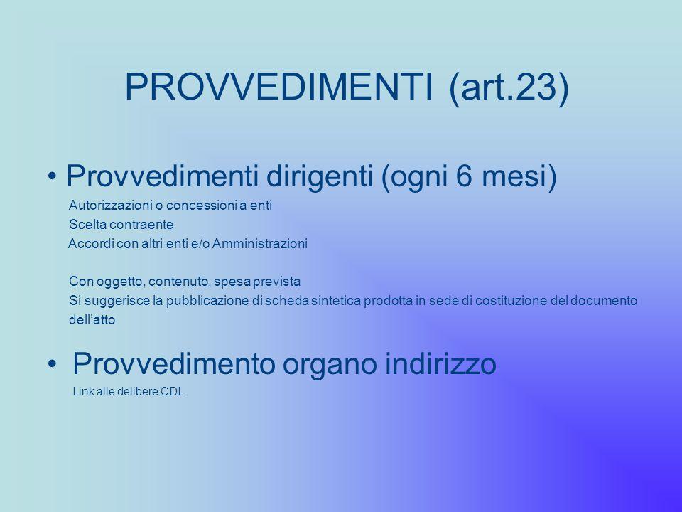 PROVVEDIMENTI (art.23) Provvedimento organo indirizzo Link alle delibere CDI. Provvedimenti dirigenti (ogni 6 mesi) Autorizzazioni o concessioni a ent