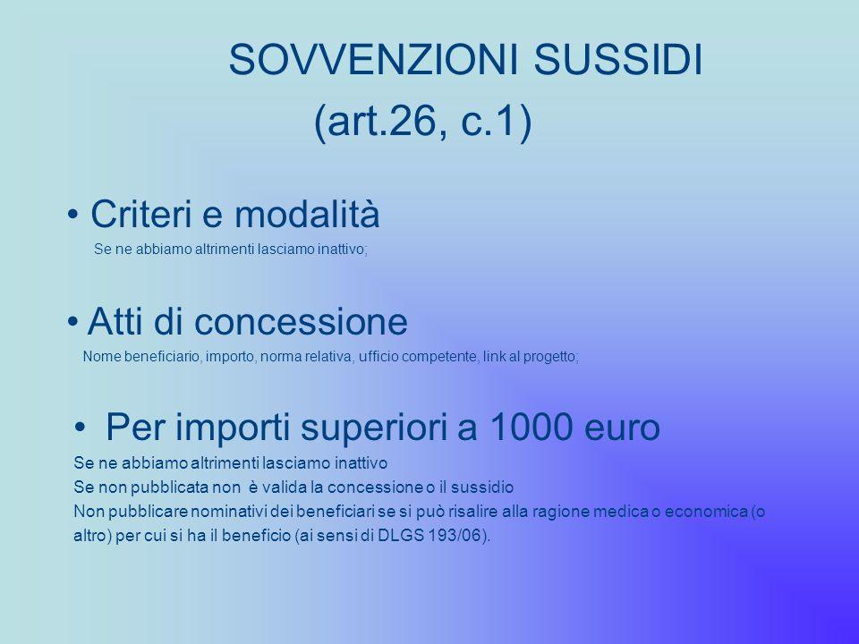 SOVVENZIONI SUSSIDI (art.26, c.1) Per importi superiori a 1000 euro Se ne abbiamo altrimenti lasciamo inattivo Se non pubblicata non è valida la conce