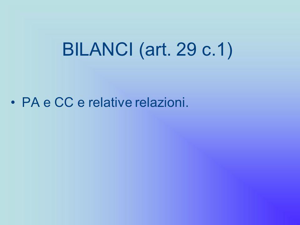 BILANCI (art. 29 c.1) PA e CC e relative relazioni.