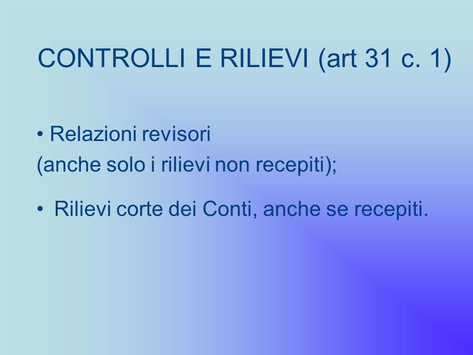 CONTROLLI E RILIEVI (art 31 c. 1) Rilievi corte dei Conti, anche se recepiti. Relazioni revisori (anche solo i rilievi non recepiti);