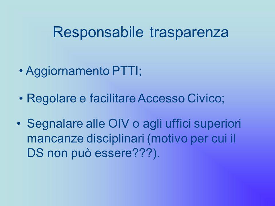 Responsabile trasparenza Segnalare alle OIV o agli uffici superiori mancanze disciplinari (motivo per cui il DS non può essere???). Aggiornamento PTTI