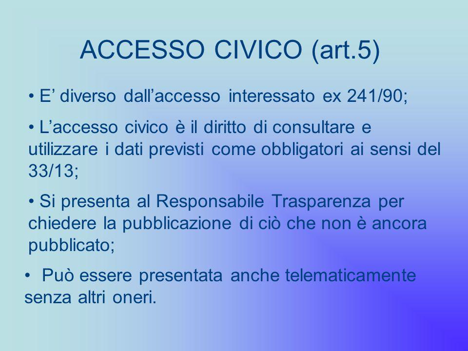 ACCESSO CIVICO (art.5) Può essere presentata anche telematicamente senza altri oneri. E diverso dallaccesso interessato ex 241/90; Laccesso civico è i