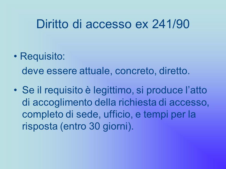Diritto di accesso ex 241/90 Se il requisito è legittimo, si produce latto di accoglimento della richiesta di accesso, completo di sede, ufficio, e te