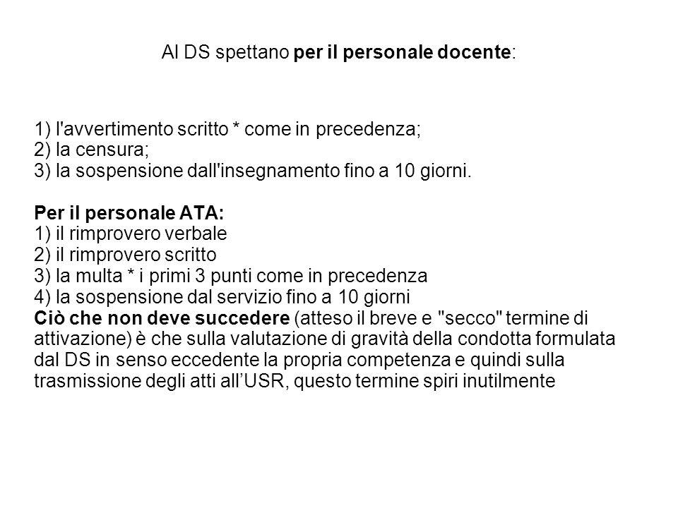 Al DS spettano per il personale docente: 1) l'avvertimento scritto * come in precedenza; 2) la censura; 3) la sospensione dall'insegnamento fino a 10