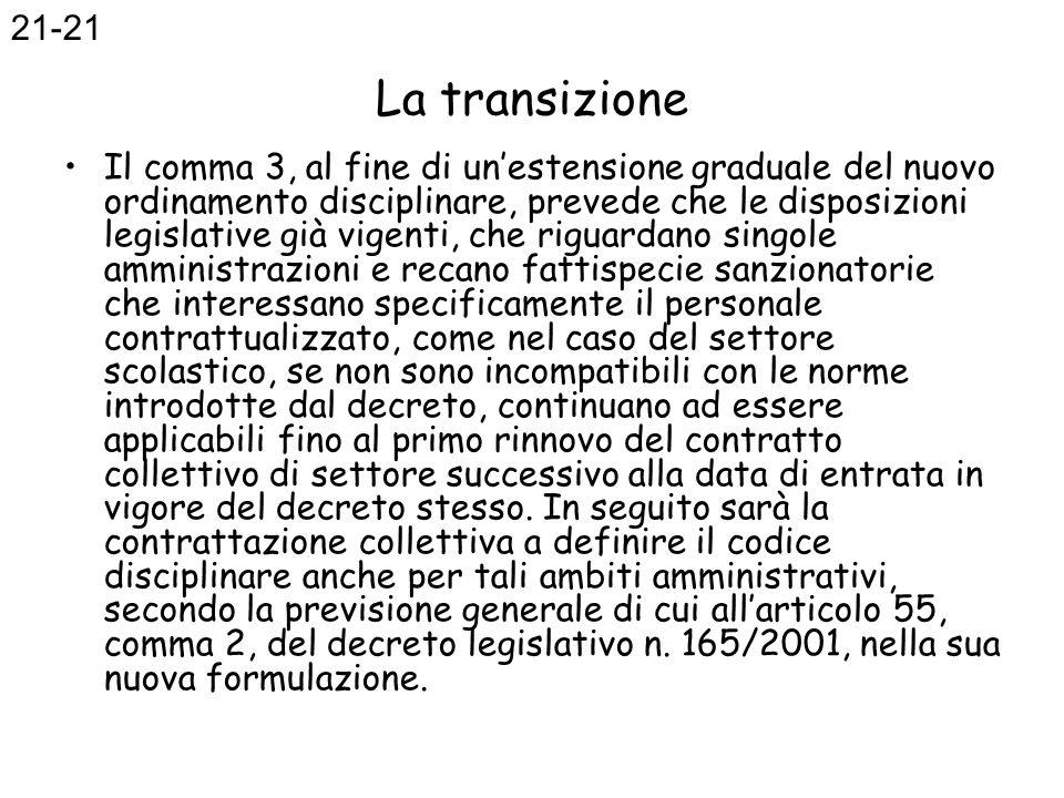 La transizione Il comma 3, al fine di unestensione graduale del nuovo ordinamento disciplinare, prevede che le disposizioni legislative già vigenti, c