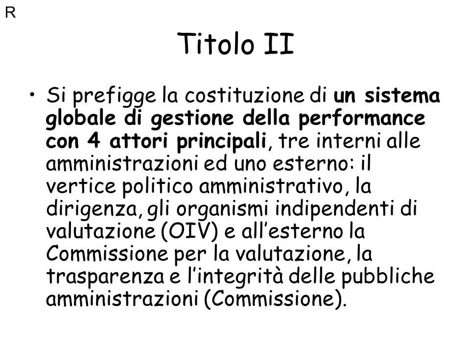 Titolo II Si prefigge la costituzione di un sistema globale di gestione della performance con 4 attori principali, tre interni alle amministrazioni ed