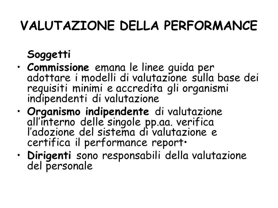 VALUTAZIONE DELLA PERFORMANCE Soggetti Commissione emana le linee guida per adottare i modelli di valutazione sulla base dei requisiti minimi e accred