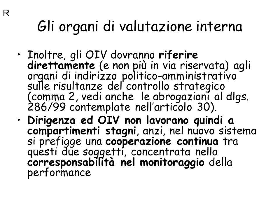 Gli organi di valutazione interna Inoltre, gli OIV dovranno riferire direttamente (e non più in via riservata) agli organi di indirizzo politico-ammin