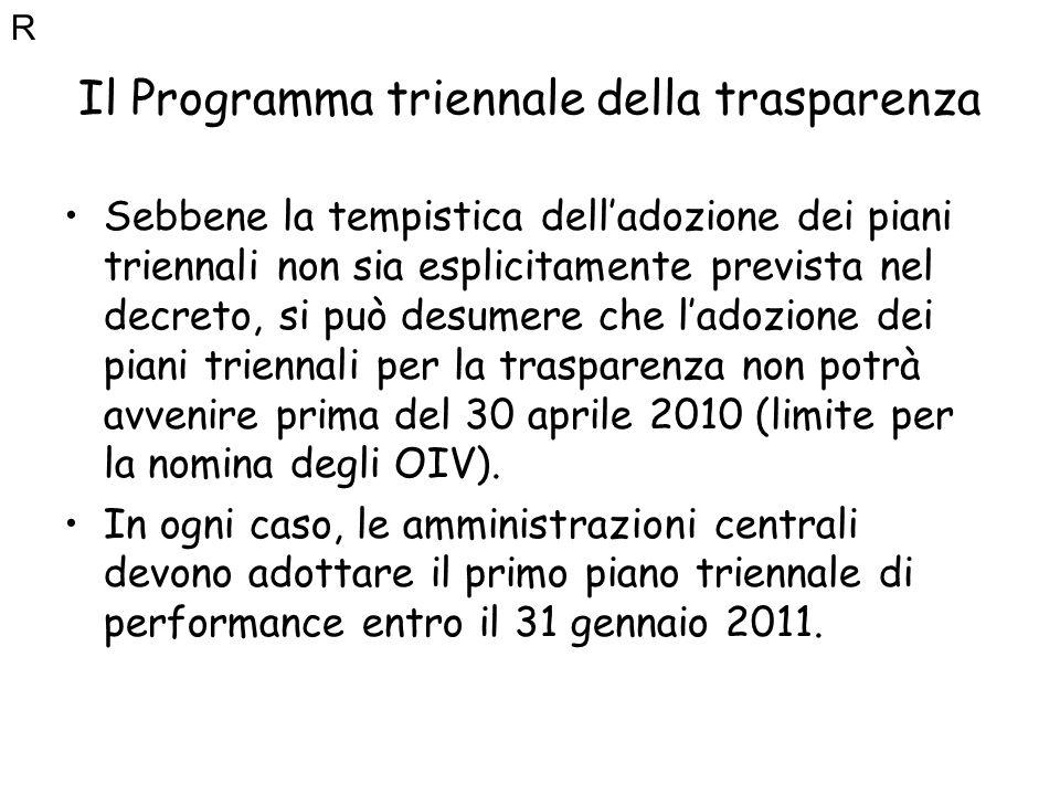 Il Programma triennale della trasparenza Sebbene la tempistica delladozione dei piani triennali non sia esplicitamente prevista nel decreto, si può de