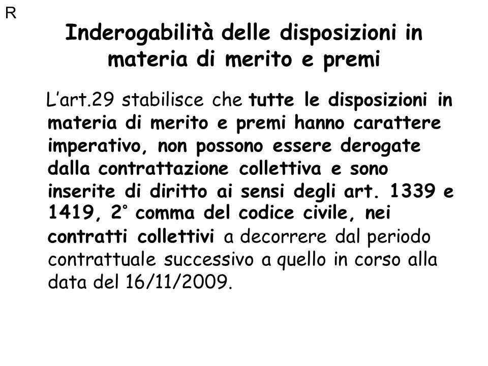 Inderogabilità delle disposizioni in materia di merito e premi Lart.29 stabilisce che tutte le disposizioni in materia di merito e premi hanno caratte