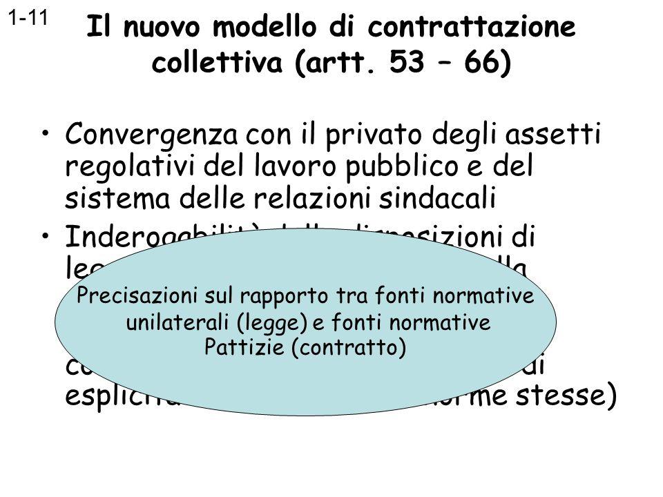 Il nuovo modello di contrattazione collettiva (artt. 53 – 66) Convergenza con il privato degli assetti regolativi del lavoro pubblico e del sistema de