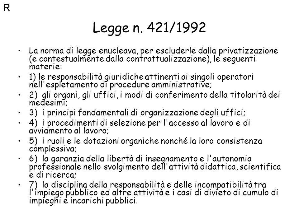 Legge n. 421/1992 La norma di legge enucleava, per escluderle dalla privatizzazione (e contestualmente dalla contrattualizzazione), le seguenti materi