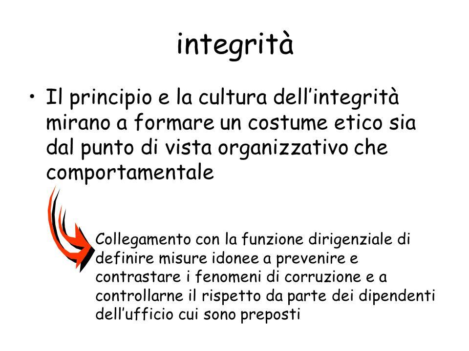 integrità Il principio e la cultura dellintegrità mirano a formare un costume etico sia dal punto di vista organizzativo che comportamentale Collegame