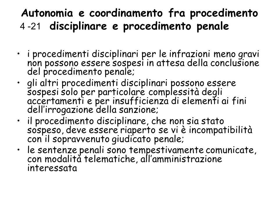 Autonomia e coordinamento fra procedimento disciplinare e procedimento penale i procedimenti disciplinari per le infrazioni meno gravi non possono ess
