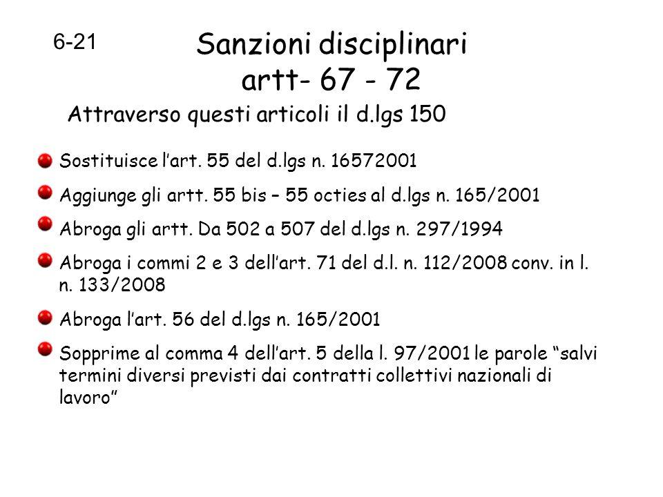 Sanzioni disciplinari artt- 67 - 72 Attraverso questi articoli il d.lgs 150 Sostituisce lart. 55 del d.lgs n. 16572001 Aggiunge gli artt. 55 bis – 55