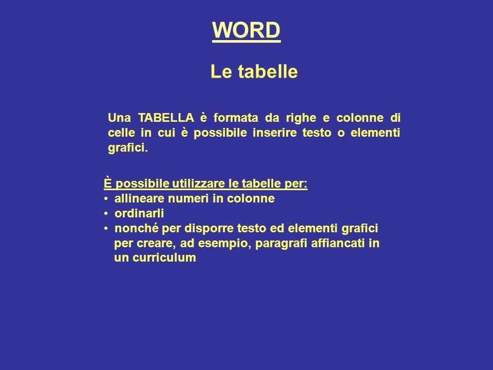 WORD Le tabelle Una TABELLA è formata da righe e colonne di celle in cui è possibile inserire testo o elementi grafici.