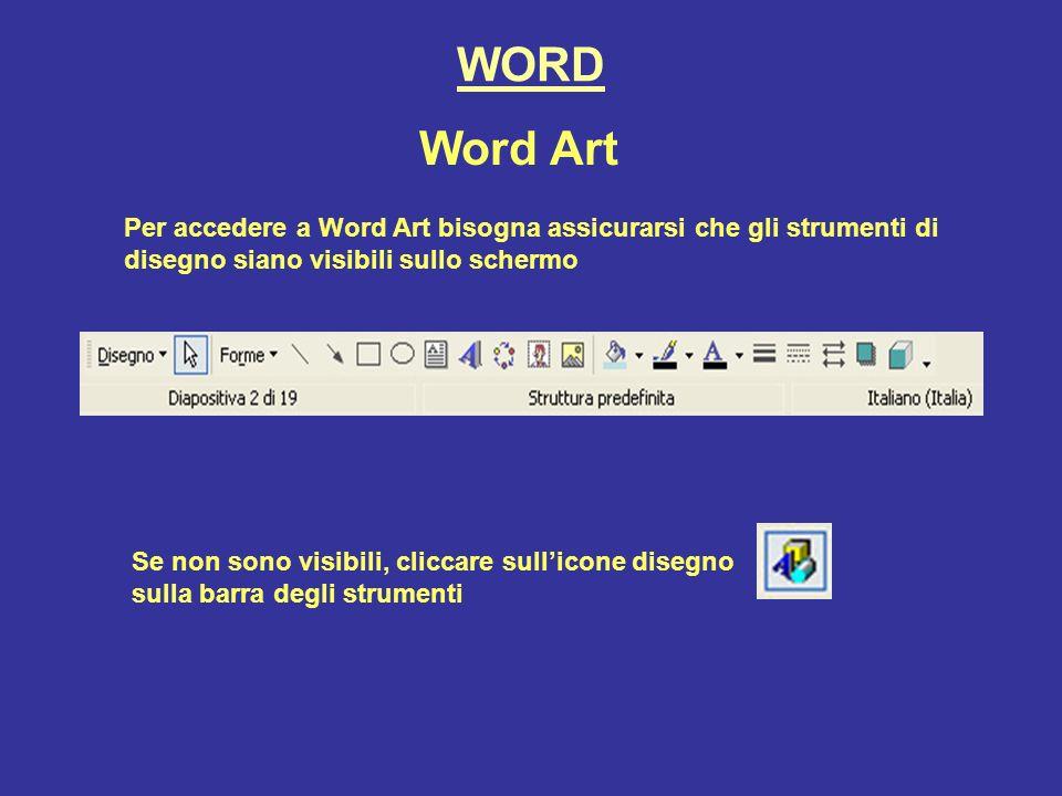 WORD Word Art Per accedere a Word Art bisogna assicurarsi che gli strumenti di disegno siano visibili sullo schermo Se non sono visibili, cliccare sullicone disegno sulla barra degli strumenti