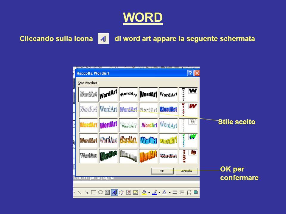 WORD Cliccando sulla icona di word art appare la seguente schermata Stile scelto OK per confermare
