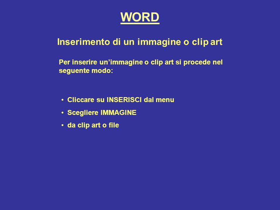 Inserimento di un immagine o clip art Per inserire unimmagine o clip art si procede nel seguente modo: Cliccare su INSERISCI dal menu Scegliere IMMAGINE da clip art o file