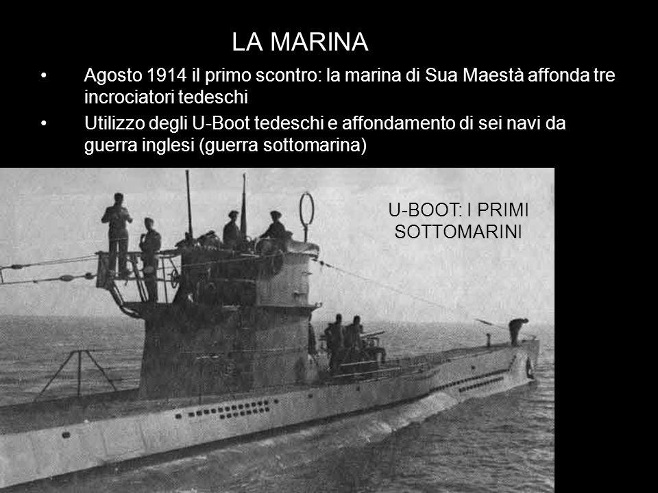 LA MARINA Agosto 1914 il primo scontro: la marina di Sua Maestà affonda tre incrociatori tedeschi Utilizzo degli U-Boot tedeschi e affondamento di sei