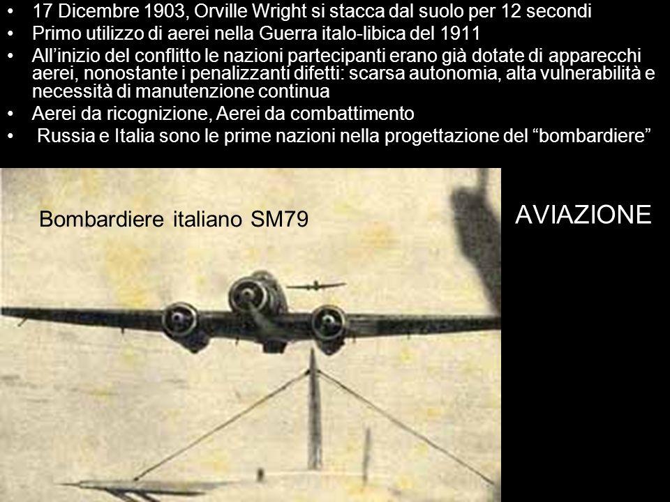 AVIAZIONE 17 Dicembre 1903, Orville Wright si stacca dal suolo per 12 secondi Primo utilizzo di aerei nella Guerra italo-libica del 1911 Allinizio del