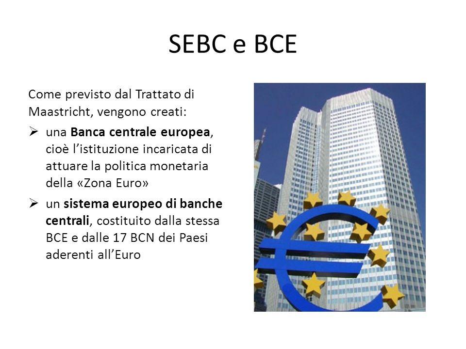 SEBC e BCE Come previsto dal Trattato di Maastricht, vengono creati: una Banca centrale europea, cioè listituzione incaricata di attuare la politica m
