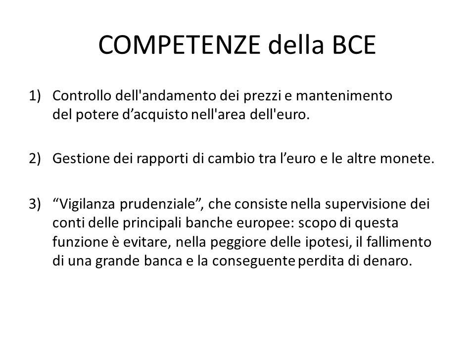 COMPETENZE della BCE 1)Controllo dell'andamento dei prezzi e mantenimento del potere dacquisto nell'area dell'euro. 2)Gestione dei rapporti di cambio