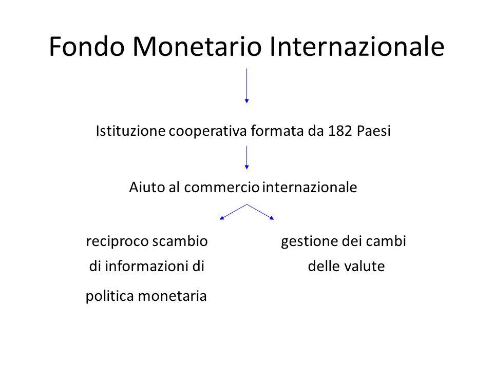 Fondo Monetario Internazionale Istituzione cooperativa formata da 182 Paesi Aiuto al commercio internazionale reciproco scambio gestione dei cambi di