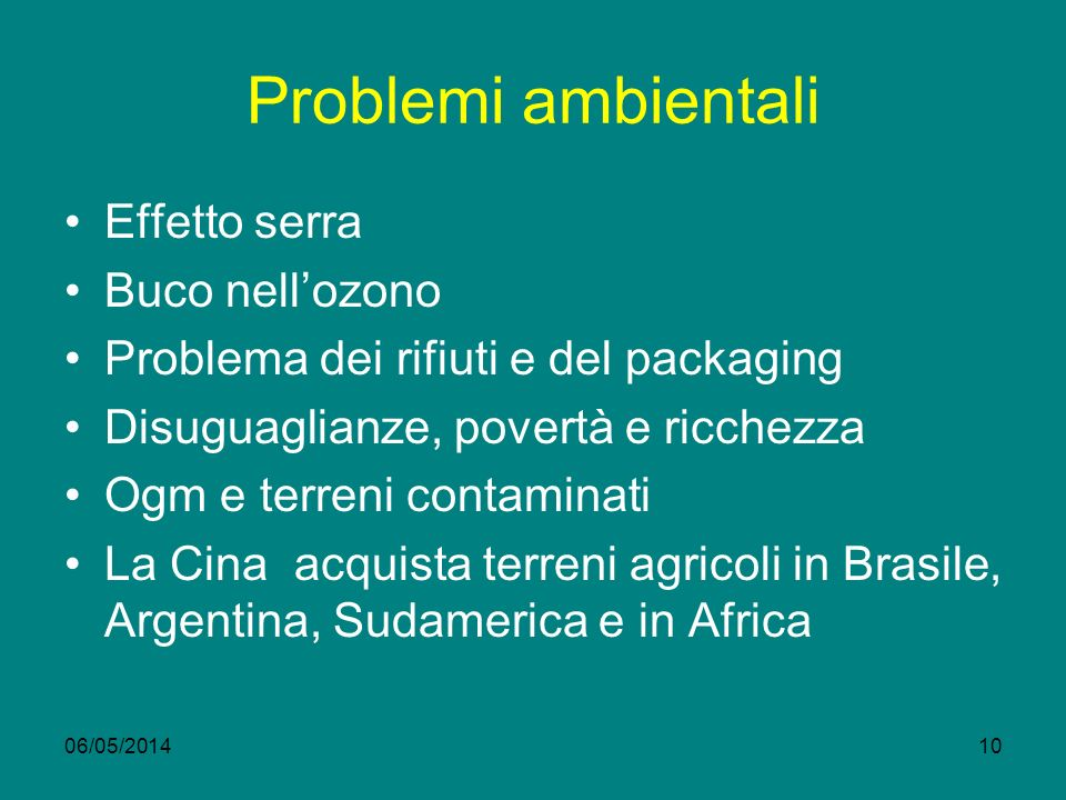 Problemi ambientali Effetto serra Buco nellozono Problema dei rifiuti e del packaging Disuguaglianze, povertà e ricchezza Ogm e terreni contaminati La