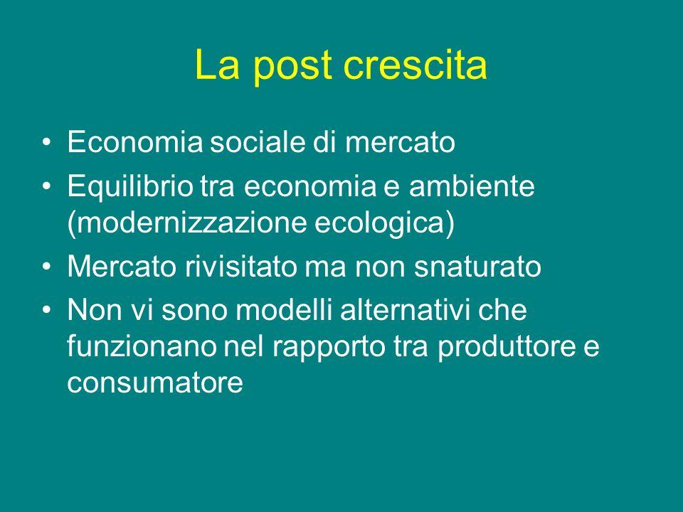 La post crescita Economia sociale di mercato Equilibrio tra economia e ambiente (modernizzazione ecologica) Mercato rivisitato ma non snaturato Non vi