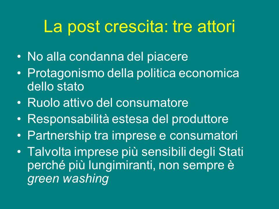 La post crescita: tre attori No alla condanna del piacere Protagonismo della politica economica dello stato Ruolo attivo del consumatore Responsabilit