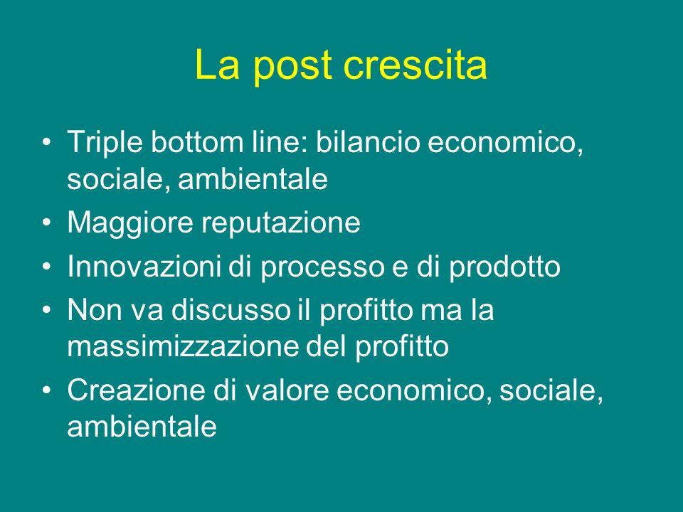 La post crescita Triple bottom line: bilancio economico, sociale, ambientale Maggiore reputazione Innovazioni di processo e di prodotto Non va discuss