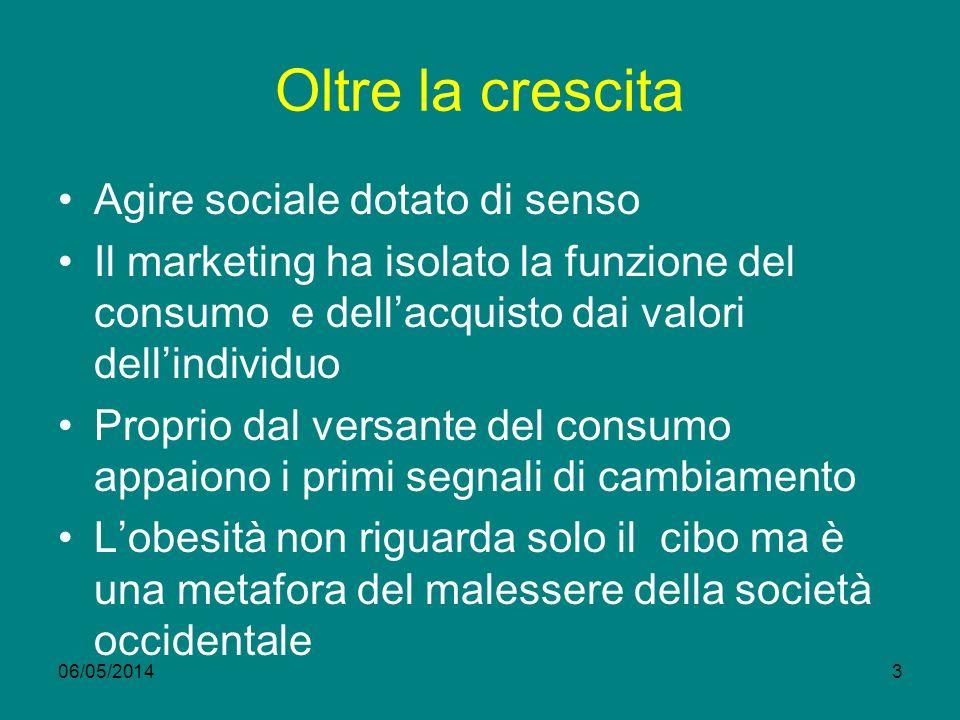 Oltre la crescita Agire sociale dotato di senso Il marketing ha isolato la funzione del consumo e dellacquisto dai valori dellindividuo Proprio dal ve