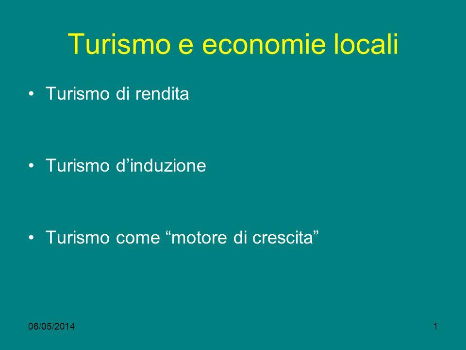 06/05/20141 Turismo e economie locali Turismo di rendita Turismo dinduzione Turismo come motore di crescita