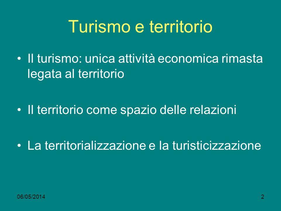 06/05/20142 Turismo e territorio Il turismo: unica attività economica rimasta legata al territorio Il territorio come spazio delle relazioni La territorializzazione e la turisticizzazione
