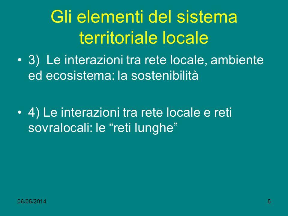 06/05/20145 Gli elementi del sistema territoriale locale 3) Le interazioni tra rete locale, ambiente ed ecosistema: la sostenibilità 4) Le interazioni tra rete locale e reti sovralocali: le reti lunghe
